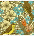 Seamless floral pattern with birds vector