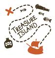 Treasure island card design vector