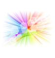 Rainbow rays with white hexagon vector
