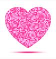Pink heart pixel icon vector