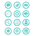 Communication buttons blue set vector