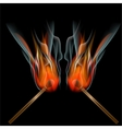 Burning match on black background vector
