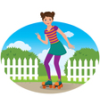 Girl on roller skates vector
