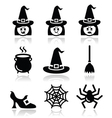 Witch halloween icons set vector