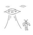 Alien and spaceships vector
