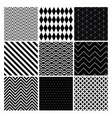 Seamless black and white geometric background set vector