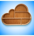 Cloud wood shelves and shelf design on wall vector