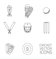 Cricket icons set black outline vector