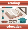 Education reading icons set vector