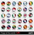 Flags of all countries in the 3d ball vector