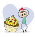 A girl beside a big cupcake vector
