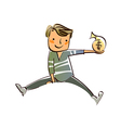 Close-up of boy holding bag of dollar vector