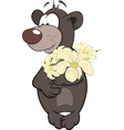 Bear cub and a flowers vector