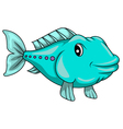 Cute blue fish cartoon vector