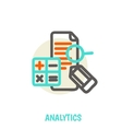 Flat line icons of analytics concept vector