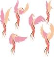 Set pink bird vector