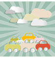 Paper cars and clouds vector
