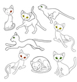 Eight contours of funny cats vector