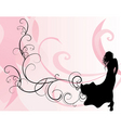 Pink background and long dress girl vector