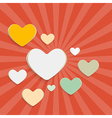 Paper hearts on red retro background vector