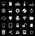Computer icons on black background vector