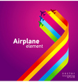Airplane colored background takeoff vector
