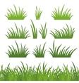 Green grass seamless and set vector