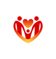 Child care logo template shape of the heart vector