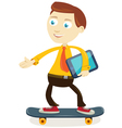 Businessman skateboarding vector
