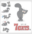 Set of seven playful cats vector