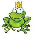 Funny frog prince vector