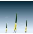 Flying rocket in the sky vector