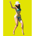 Cartoon girl is dancing in a bathing suit and hat vector
