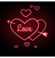 Neon sign love heart vector