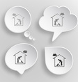 Home cat white flat buttons on gray background vector
