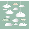 Clouds hung on strings on retro sky background vector
