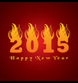 New year greeting 2015 with fire vector