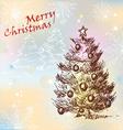 Christmas vintage tree vector