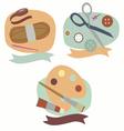 Hobby emblems sewing knitting and painting vector