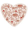 Cake heart vector
