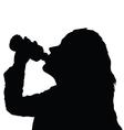 Girl drinking water from bottle black silhouette vector