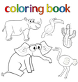 Set of animals and cactus for coloring book vector