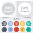 Video chat laptop sign icon web communication vector