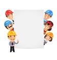 Builders presenting empty vertical banner vector