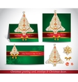 Greeting cards with golden ornate christmas tree vector