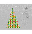 Merry christmas colorful tree shape vector