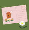 Post card with beehive and bees vector