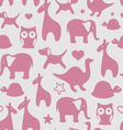 Seamless print with cartoon animals for girls vector