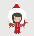 Santa girl with dog vector