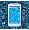 Smartphone on web pattern vector